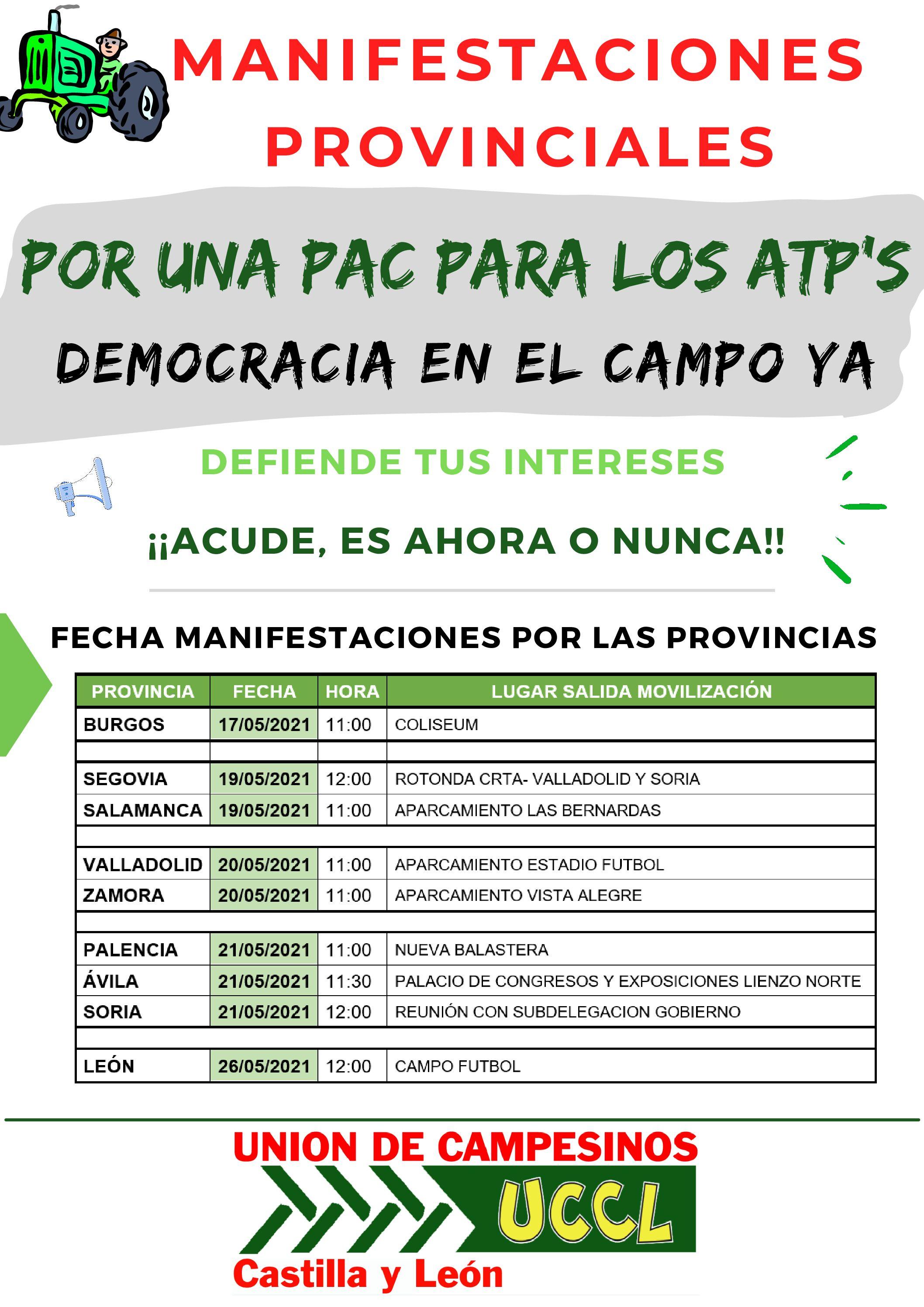"""MANIFESTACIONES PROVINCIALES """"POR UNA PAC PARA LOS ATP´S"""" ¡¡DEMOCRACIA EN EL CAMPO YA!!"""